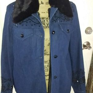 Denim & Black Fur Lined Jacket